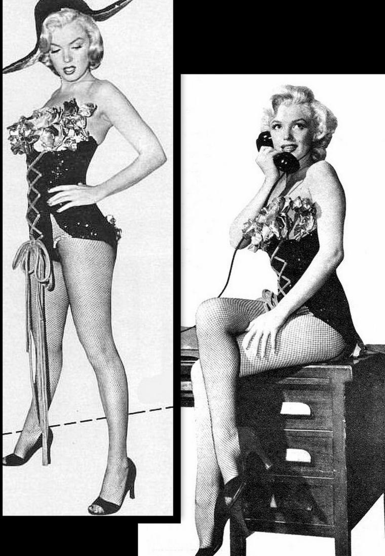 """1953, DUO de charme, DUO de choc, Marilyn et Jane RUSSELL posent pour des photos publicitaires pour le film """"Gentlemen prefer blondes"""" de Howard HAWKS (part 4)."""