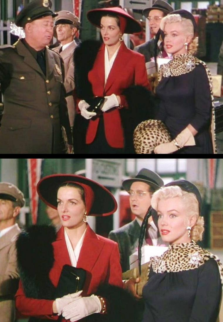 "1953 ""Gentlemen prefer blondes"" (Les hommes préfèrent les blondes) de Howard HAWKS ; Marilyn et Jane chantent ""Bye bye baby"" chacune à sa façon ; Marilyn de le sussurer à l'oreille de Gus, Jane avec énergie et ses sportifs. On peux voir également sur une photo, Marilyn et son professeur d'Art Dramatique, Natasha LYTESS. / PAROLES de la chanson ""Bye bye baby"" / I'll be in my room alone, Every post meridian, And I'll read my diary, And that book by Mister Gideon,  Bye, bye, baby, Remember you're my baby, When they give you the eye, And just to show that I care, I will write and declare, That I'm on the loose, But I'm still on the square, I've been lonely, But even though I'm lonely, There'll be no other guy, Though I'll be gone for a while I know that I'll be smiling, With my baby by and by, With my baby by and by  I'll be gloomy But send that rainbow to me Then my shadows will fly Though you'll be gone fo a while I know that I'll be smiling with my baby by and by."