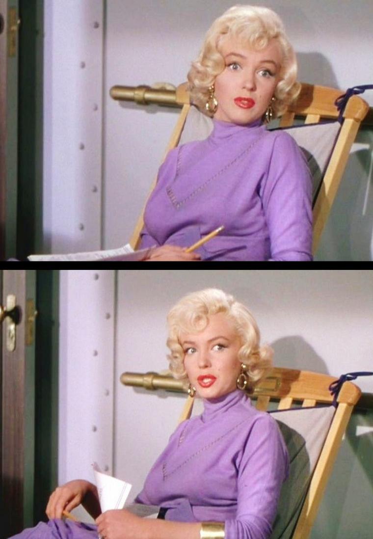 """1953 """"Gentlemen prefer blondes"""" (Les hommes préfèrent les blondes) de Howard HAWKS / Marilyn sur le plateau du tournage, notamment avec Natasha LYTESS, son professeur d'Art Dramatique : COMMENTAIRE / Comme la majorité des comédies musicales, """"Les Hommes préfèrent les blondes"""" est l'adaptation d'un succès de Broadway. Le spectacle qui devait donner lieu au film était l'un des plus grands triomphes de la scène à New York depuis 4 ans. Darryl ZANUCK et HAWKS choisirent Marilyn pour tenir le rôle de la blonde arriviste. Comme celle-ci n'était pas encore une vedette confirmée, ZANUCK insista pour obtenir la déjà grande star Jane RUSSELL, par ailleurs sous contrat avec le milliardaire démiurge Howard HUGHES. Celui-ci exigera de la Fox d'engager également l'entourage de RUSSELL ainsi que le chef opérateur Harry WILD qui composera une photographie sublime, en honorant le film d'un Technicolor éclatant, donnant un cachet presque irréel et onirique à une ½uvre qui s'y prêtait parfaitement. Les deux comédiennes s'entendront à ravir sur le tournage et cette collaboration joyeuse illumine dans chaque plan du film. En outre, Jane RUSSELL servira de relais à Howard HAWKS vis-à-vis de Marilyn qui, parallèlement à une grande carrière d'actrice, entame également une carrière de diva capricieuse, caractérielle et malheureusement névrosée et peu sûre d'elle-même."""