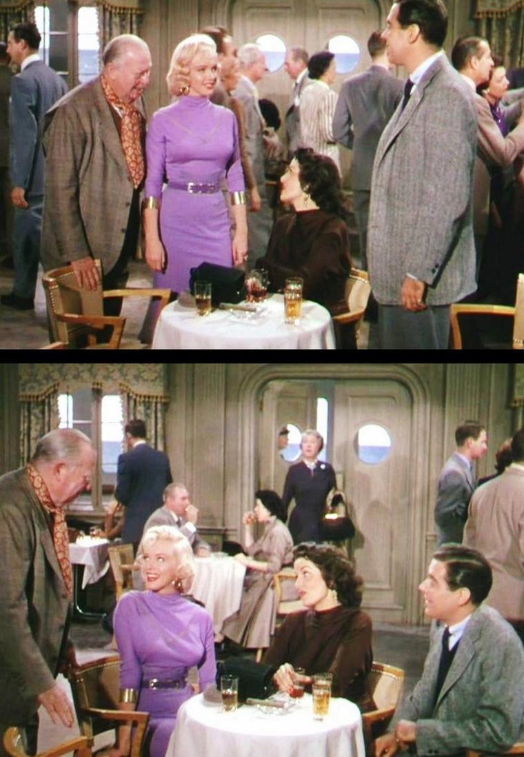 """1953 """"Gentlemen prefer blondes"""" (Les hommes préfèrent les blondes) de Howard HAWKS / COMMENTAIRE / Derrière la fantaisie et l'allégresse, il y a dans """"Les Homme préfèrent les blondes"""" un véritable discours subversif sur le sexe et le pouvoir, ainsi qu'une misogynie latente appliquée gaiement, et non sans un certain sens de la formule. On retiendra par exemple le personnage du garçonnet héritier qui, par deux fois, lance des répliques piquantes et assassines quant à la condition féminine et au """"magnétisme animal"""" de Marilyn, et cela avec l'aplomb d'un gentleman expérimenté sur la question. On ne peut s'empêcher alors d'entendre ici la voix d'un HAWKS caustique comme à son habitude. On fait souvent référence au puritanisme qui imprègne profondément la société américaine et en particulier son cinéma. Il est bon de rappeler qu'il s'est trouvé des artistes au sein même de Hollywood pour contourner cette contrainte et se faire les commentateurs ironiques et avisés des m½urs contemporaines dans des comédies faussement ingénues. Si LUBITSCH et surtout WILDER sont les principaux représentants de cette école joyeusement satirique, HAWKS figure aussi en bonne place."""