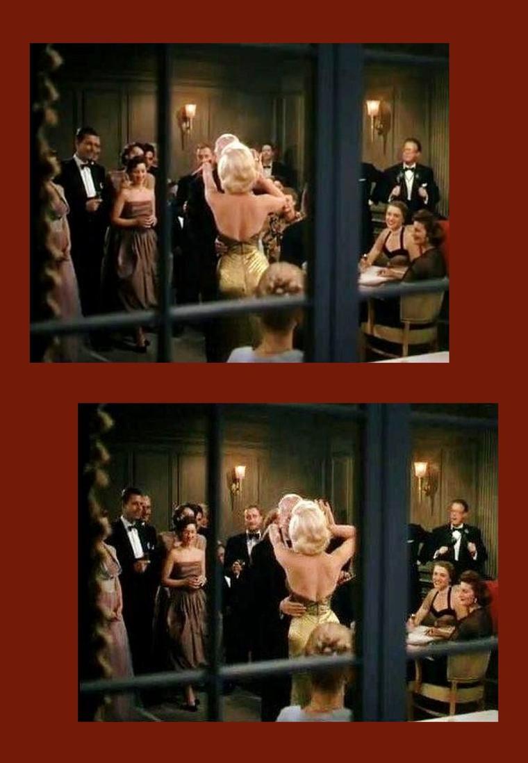 """1953 """"Gentlemen prefer blondes"""" (Les hommes préfèrent les blondes) de Howard HAWKS / REGRETS / En effet, Marilyn apparaît dans sa fabuleuse robe lamée or seulement que quelques secondes dans le film, dansant avec Charles COBURN et de surcroît de dos... Dommage !"""