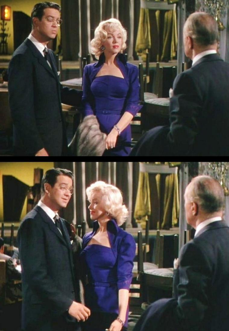 """1953 """"Gentlemen prefer blondes"""" (Les hommes préfèrent les blondes) de Howard HAWKS / CRITIQUE (part 2) / Tout cela est pensé avec beaucoup d'intelligence par le cinéaste : l'histoire des """"Hommes préfèrent les blondes"""" n'a ni queue ni tête, et est de toute manière complètement futile. Autant donc amplifier son absurdité (qui dans le cas présent représente son efficacité) au maximum. La place très particulière donnée aux numéros musicaux dans l'espace du film participe à ce procédé. Ceux-ci ne sont ni complètement extérieurs au récit (lorsque le film s'arrête le temps de la chanson, et qu'après coup les personnages reprennent leur existence comme si rien n'en avait interrompu le cours), ni complètement intégrés (avec un basculement au détour d'un dialogue dans la chanson, laquelle fait progresser le film en termes d'intrigue ou d'émotions). Ils se situent dans un étonnant entre-deux, en contaminant – puis en libérant – le cadre et les personnages de manière progressive. On reste dans le même décor, mais l'utilisation qui en est faite (par la chorégraphie, par exemple) évolue au fil des couplets ; certains personnages sont dans l'univers de la chanson dès son déclenchement, tandis que d'autres restent un temps à l'écart avant de pousser à leur tour la chansonnette. Le résultat est encore plus artificiel que dans les comédies musicales de la 1ère catégorie (avec numéros musicaux « extérieurs »), puisque dans ces dernières le film hors chansons conserve une intégrité, une crédibilité ici complètement battue en brèche..."""
