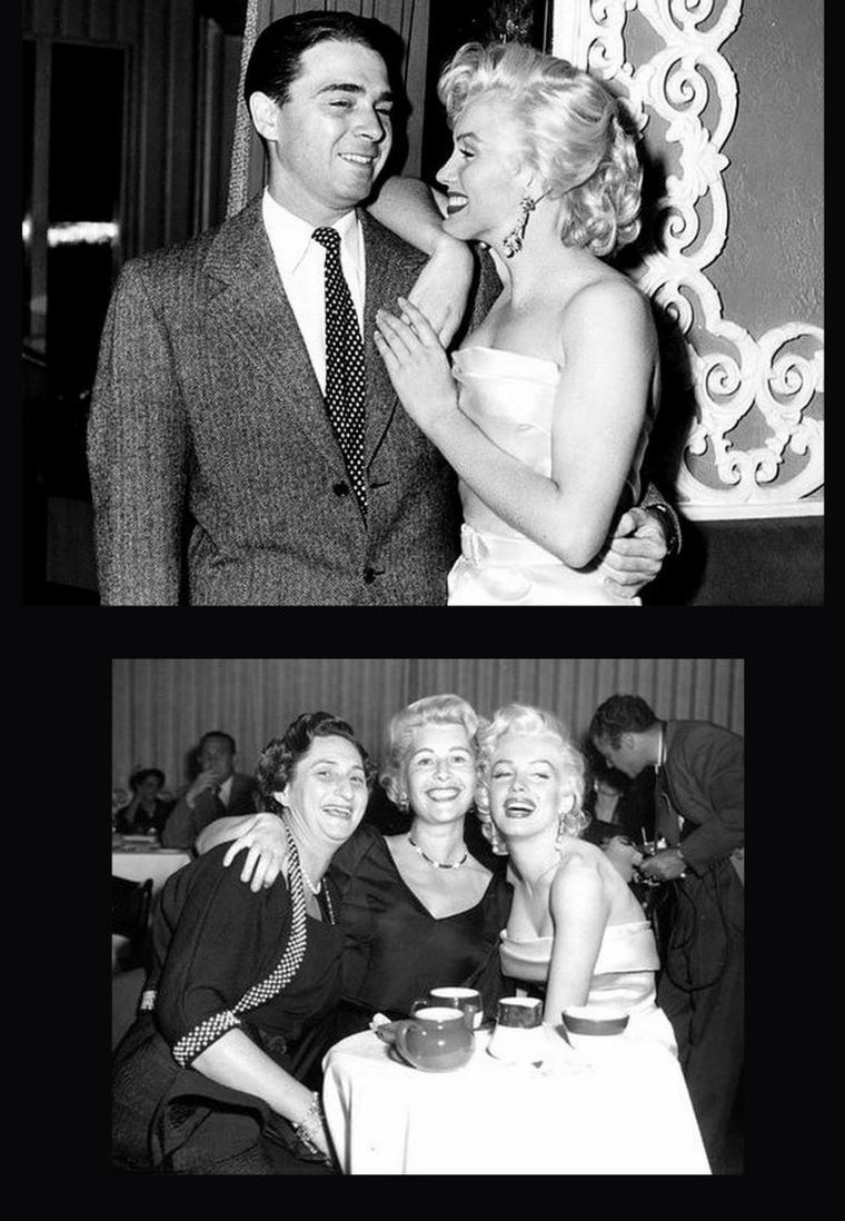 """Mai 1953, Marilyn portant la même robe qu'au jour de l'an (voir article précédent) de la même année, avec cependant une variante pour les bijoux et les gants, arrive au bras de Betty GRABLE, au nightclub le """"Ciro's"""" à Hollywood afin d'y fêter l'anniversaire du journaliste Walter WINCHELL où tout le """"gratin"""" d'alors se presse ; on peux compter parmi les invités prestigieux Darryl ZANUCK, la chroniqueuse mondaine Louella PARSONS, l'actrice de comique burlesque Lucille BALL, Jane RUSSELL, Sheilah GRAHAM, Sybil BRAND, Joe SCHENCK ou encore Herman HOVER..."""