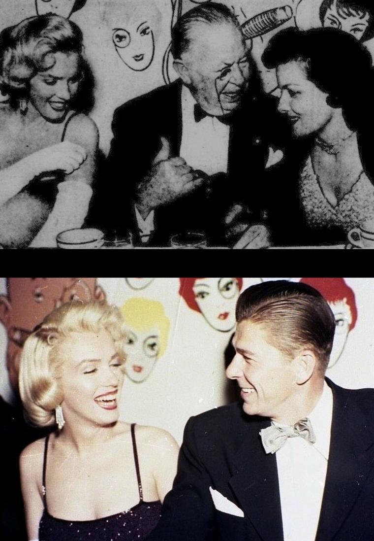 """17 Juin 1953, c'est au """"Beverly-hills Hôtel"""" que Jane RUSSELL et Marilyn sont conviées pour l'anniversaire de leur partenaire dans le film """"Gentlemen prefer blondes"""", Charles COBURN. Parmi la liste des invités, entre autres, on y trouvera le jeune Ronald REAGAN ainsi que sa femme de l'époque Nancy dont Marilyn fera la connaissance sous l'oeil du photographe Bruno BERNARD dit """"Bernard of Hollywood"""" avec qui Marilyn travailla souvent. Plus tard, elle rejoindra le photographe dans une des chambres de l'hôtel pour y donner une interview, assistée des chroniqueurs et photographes George MILLER et Earl WILSON."""