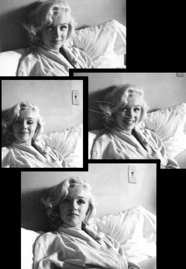 """C'est en Septembre 1953, que Milton GREENE fait la connaissance de Marilyn à la FOX / Une longue amitiée et association va démarrer entre la Star et le photographe ; on y reviendra plus longuement prochainement. En attendant, voici une des premières session photos de Marilyn vue par GREENE intitulée """"in the bed""""."""
