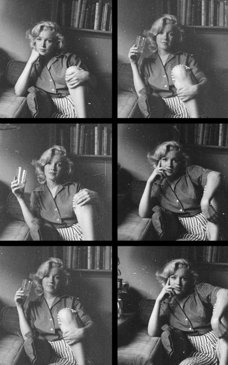 "1953, Marilyn by Milton GREENE, session ""SCHENCK House"" / En effet Marilyn pose chez Joe SCHENCK, le fameux co-patron de la Fox."