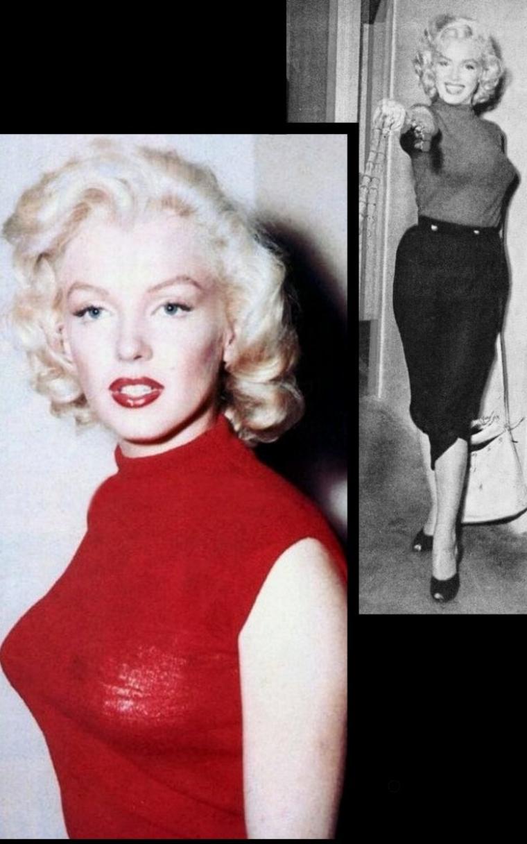 """1953, Pause détente pour Marilyn dans son chalet du """"Banff Springs Hôtel"""", lors du tournage du film """"River of no return"""", commencé en 1953 et sorti dans les salles en 1954."""