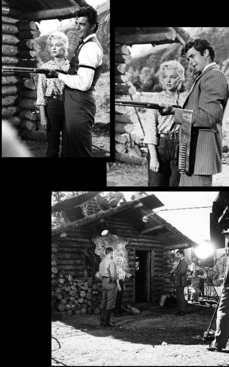 """1953 """"River of no return"""" (La rivière sans retour) d'Otto PREMINGER (Photos de tournage et photos du film) / ANALYSE et CRITIQUE (part 3) / Au premier abord, l'histoire de """"River of no return"""" semble nettement plus marquée par les thèmes chers au scénariste Frank FENTON que par les obsessions """"premingeriennes"""". Nous relèverons la récurrence de l'itinéraire physique bien sûr, qui privilégie les dangers naturels aux menaces humaines (indiennes) et qui renvoie à """"The wild north"""" d'Andrew MARTON qu'interprétaient Wendell COREY, Stewart GRANGER et Cyd CHARISSE et surtout à cet autre sommet, """"Garden of evil"""" de Henry HATHAWAY avec le trio Gary COOPER, Susan HAYWARD et Richard WIDMARK. Et de façon plus ostentatoire encore, nous retrouvons ce recours à la structure du trio dans lequel la femme est tiraillée entre une fidélité presque masochiste à son compagnon et une attirance physique irrépressible pour un homme que tout, à priori, semble séparer d'elle : """"Garden of evil"""" encore, et surtout """"Ride, vaquero !"""" de John FARROW, western baroque doublé d'une allégorie religieuse dans lequel, pour le salut de son époux Howard KEEL, Ava GARDNER était tout proche, devant les yeux du ténébreux Robert TAYLOR dont elle était pourtant déjà éprise, de s'offrir au bandit Anthony QUINN. Marilyn n'agira pas si différemment ici lorsqu'elle entreprendra - sans trop avoir à se forcer au regard des sentiments qu'elle a déjà manifestement commencer à développer à son endroit - de séduire le placide Robert MITCHUM, espérant ainsi le distraire de son obsession de vengeance. Il serait plus exact de dire : d'allumer le pauvre MITCHUM, jusqu'à lui faire perdre la tête et de risquer un viol brutal, tout juste interrompu par les cris d'alarme de Mark..."""
