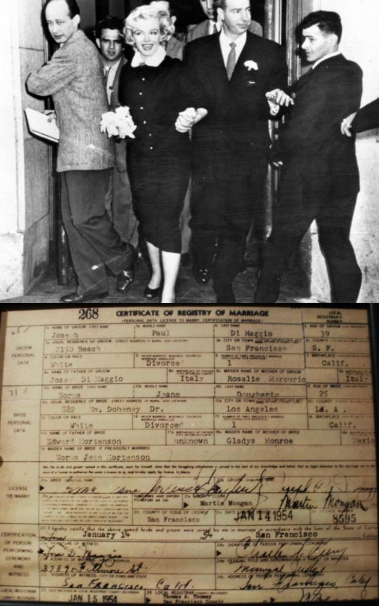 14 JANVIER 1954 / MARIAGE Marilyn et Joe DiMAGGIO (part 3) / ALLIANCE / DOCUMENTS OFFICIELS ORIGINAUX / VIDEO