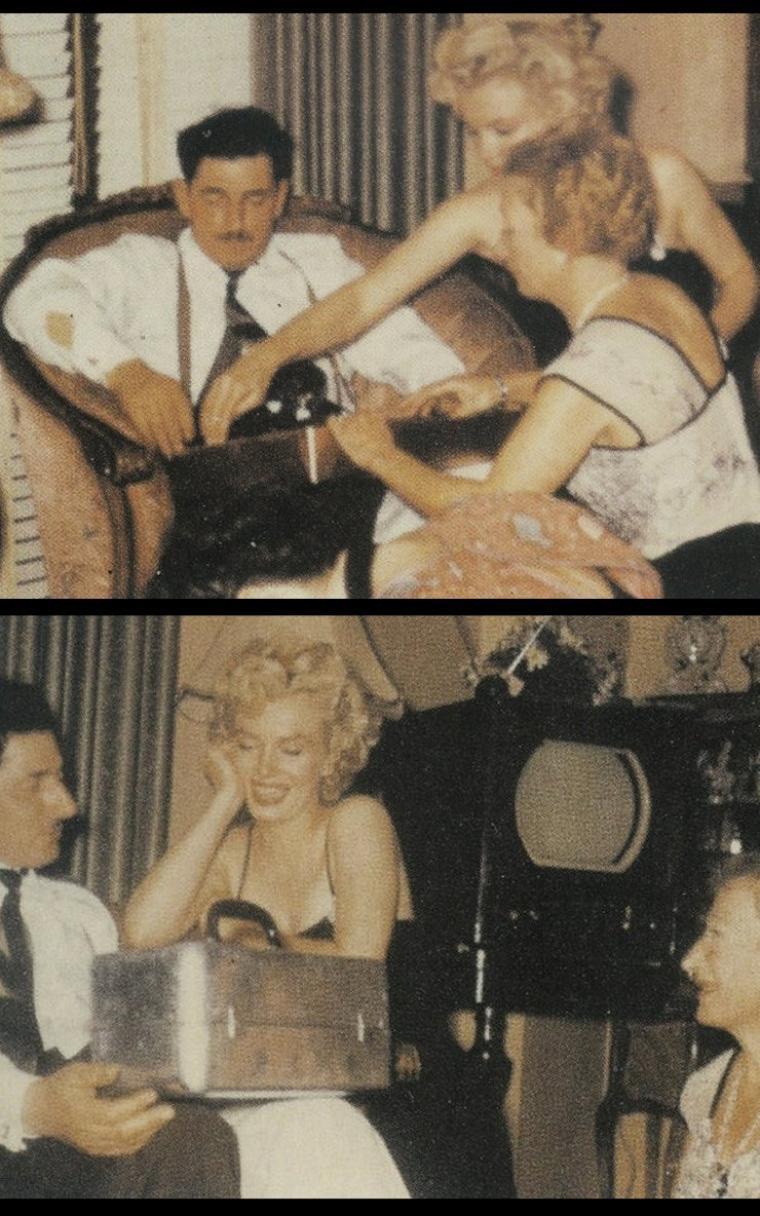 """1954 / VIE PRIVEE / Marilyn et joe sont invités à la fête d'anniversaire de Tom DiMAGGIO (frère de Joe). Ces photos sont extraites du livre """"Marilyn, joe and me"""", tirées de l'album photos privé de la famille, écrit par June DiMAGGIO, qui n'est autre que la fille de Tom DiMAGGIO, autrement dit la nièce de Joe. (1 photo de Marilyn parmi le """"clan"""" féminin DiMAGGIO)."""