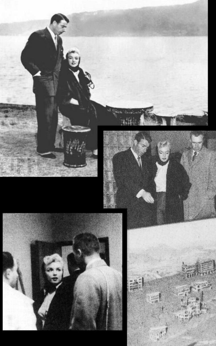 1954, aéroport de Tokyo, marilyn et Joe dans un stade, visite à Hiroshima, et Marilyn à l'hôtel, pauses détente.
