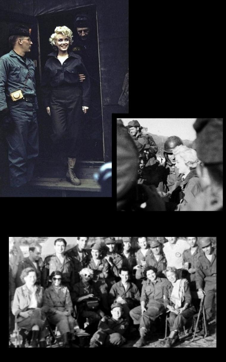 """Avant de s'envoler pour la Corée du Sud, elle répéta pendant une semaine avec les musiciens de l'orchestre """"Anything Goes"""", installé à Osaka, au Japon. L'orchestre du """"Anything Goes"""" passa la semaine suivante à sillonner la Corée du Sud et donna 23 concerts. Marilyn chanta plusieurs chansons en live devant les troupes : """"Bye Bye Baby"""" et """"Diamonds are a girls' best friend"""", exécutant une danse à la fin du numéro. Le titre """"Do it again"""" fut transformé en """"Kiss me again"""", afin de ne pas trop provoquer l'hystérie des soldats, la chanson originale étant bien trop suggestive ! Car les boys lui vouaient une grande admiration, affichant ses posters sur les murs du campement de leur base. La presse militaire """"Stars and Stripes"""" publiait d'ailleurs régulièrement des photos de Marilyn."""
