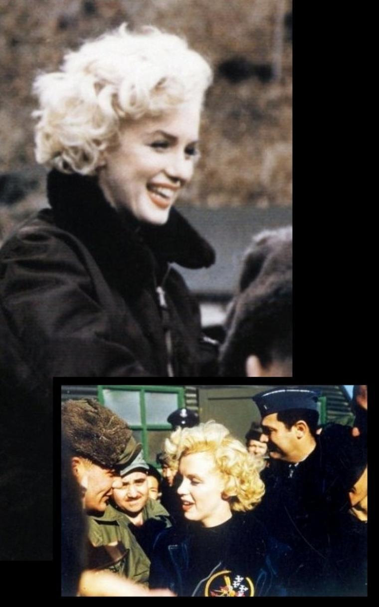 """Sur les quatre jours passés là-bas, plus de 13 000 hommes sont venus l'acclamer. Joe DiMAGGIO, qui avait suivi les déplacements de sa jeune épouse dans les actualités à la télévision japonaise, n'était quand à lui, pas du tout enthousiasmé. Leurs conversations téléphoniques étaient d'ailleurs souvent tendues. Quelques semaines plus tard, après leur retour en Californie, en la présence de Sydney SKOLSKY, Marilyn évoquera, d'une manière très animée, ce séjour en Corée et s'adressera à Joe : -""""Joe, tu ne peux pas imaginer ce que c'est ! Tu as déjà vu 10 000 personnes se lever pour t'applaudir ? """" -""""Non, 75 000"""", répondit-il séchement en faisant référence à ses exploits sportifs au Yankee Stadium. SKOLSKY raconte alors que Marilyn ne savait plus du tout où se mettre, tant elle avait honte !"""