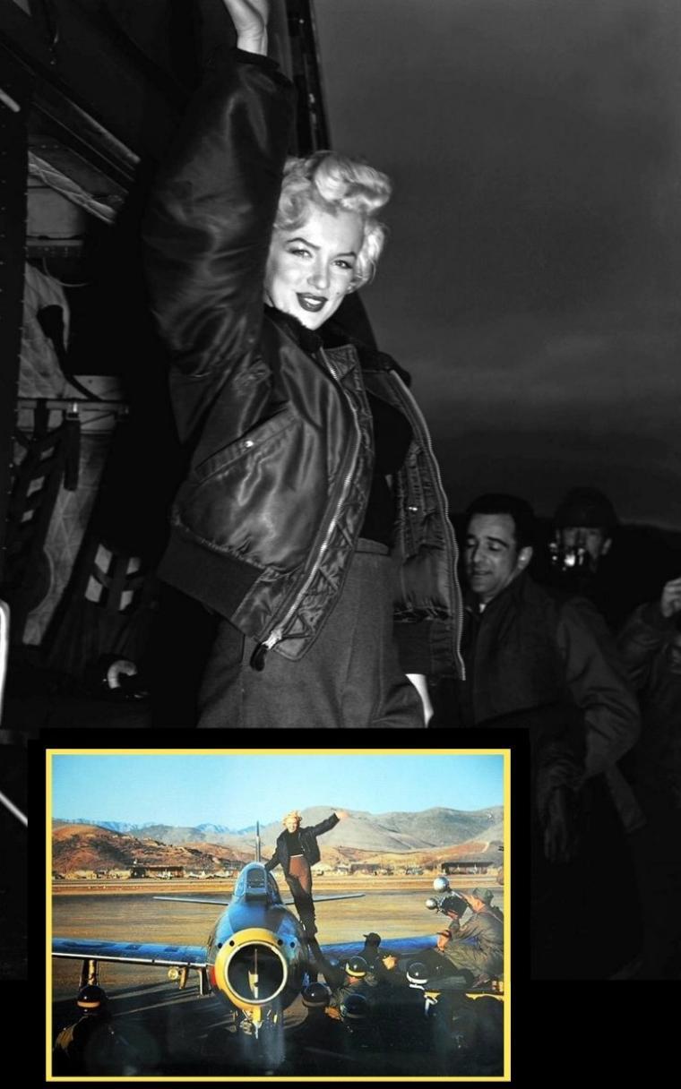 """Elle se produit ensuite sur scène, devant le régiment de la """"3rd Infantery"""". La scène est haute et soigneusement décorée par des filets et cordages kaki devant l'estrade. En fond de scène, on y retrouve le logo rayé bleu et blanc avec le nom du régiment. Après son tour de chant, Marilyn laisse le public s'approcher, distribuant même des photographies dédicacées. Les soldats qui l'approchent de près, la dévisagent des pieds à la tête. Marilyn est heureuse de cet acceuil."""
