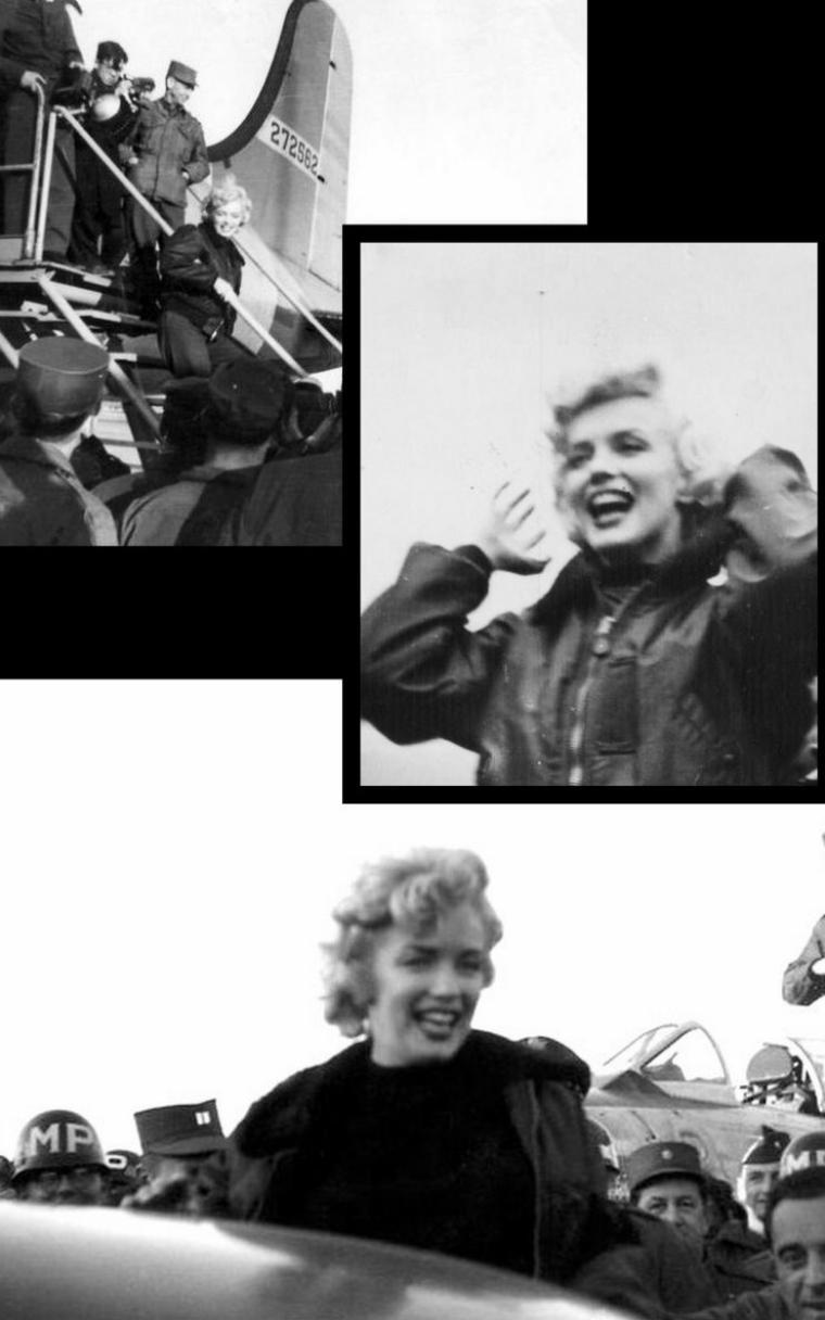"""Marilyn fait ensuite une visite de la base, hissée en haut d'un tank de l'armée. Témoignage de Edward J. BARRUS, un soldat qui se souvient avoir dû faire une longue route sur une piste poussiéreuse pour l'admirer: """"Quand on est arrivé à destination, on a essayé de se faire beau, au cas où elle nous aurait demandé de monter sur scène avec elle... On était vraiment des rêveurs ! Il y avait d'autres filles qui chantaient et dansaient. Elles étaient bien, mais c'était Marilyn que nous étions venus voir. Elle apparut soudain, dans un tank. Je ne lui reproche pas: c'était ce qu'il y avait de plus sûr. Elle sortit du tank et nous la vîmes de dos. Tous les GIs criaient. On ne ne souciait pas qu'elle sache ou non chanter. Nous voulions juste être là pour la regarder. Elle était magnifique. J'ai pensé que j'avais eu raison de m'enrôler pour trois ans, même si j'étais au qurantième rang."""""""