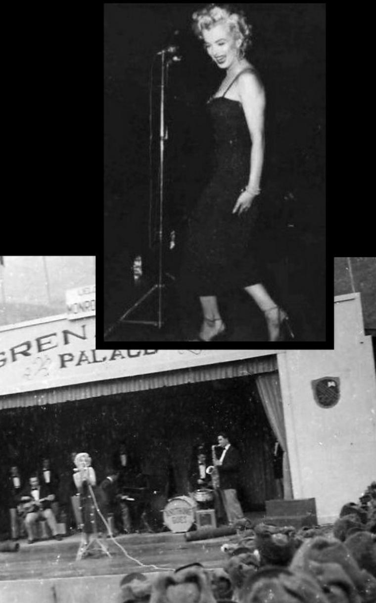 """Le dernier jour, Marilyn arrive à la base """"K47 de Chu'Chon"""". Elle porte une courte écharpe rouge qu'elle a croisée autour de son cou. Elle fait un tour à pied et en jeep de la base, toujours accompagnée et escortée d'officiers. Elle se lève pour saluer les soldats, toujours aussi nombreux. Le froid se faisant ressentir, elle nouera autour de son cou la large écharpe offerte par la """"25th Division"""".  Le midi, elle est invitée au repas du Club des officiers."""