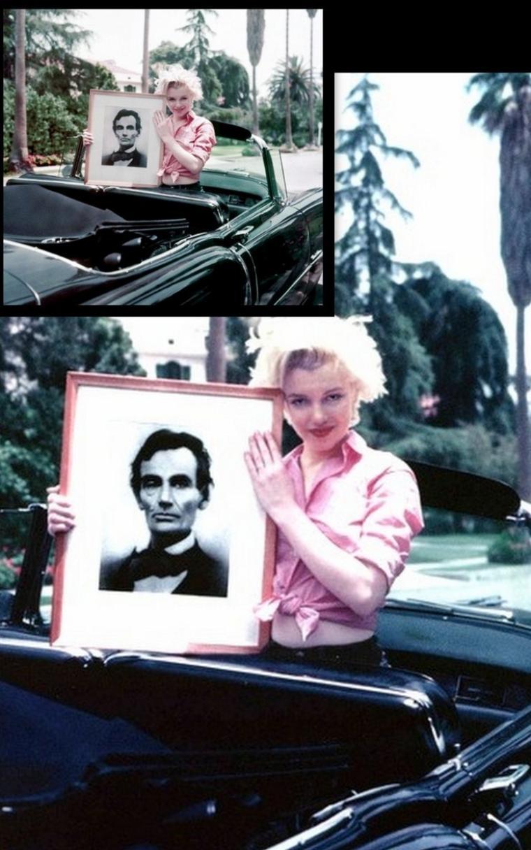"""1954, sous l'objectif de Milton GREENE, Marilyn se fait maquiller, plus précisément se fait poser des faux-cils par Alan """"Whitey"""" SNYDER, session photos intitulée """"Make-up"""". (photos des vrais produits que Marilyn utilisaient, notamment boîtes de faux-cils lui ayant appartenu). Marilyn pose également aux côtés de sa Cadillac offerte par Jack BENNY pour sa prestation lors d'un show, à voir dans ce blog."""