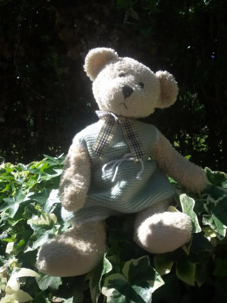 Cathie et le nours dernièrement arrivés profitent du jardin (trois photos).