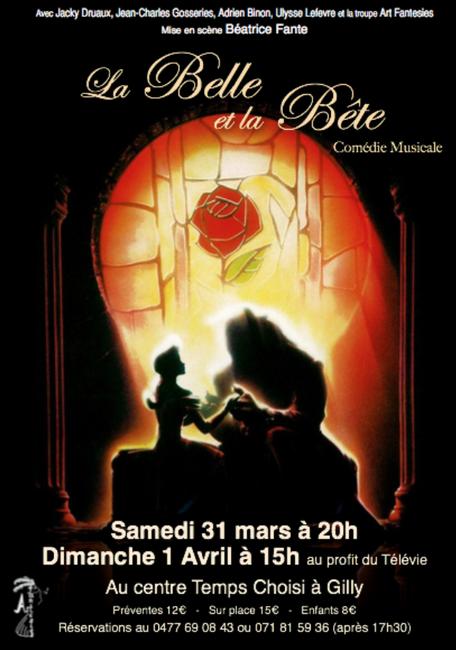La Belle et la Bête: Le samedi 31 mars à 20h et le dimanche 1 avril a 15h au Centre Temps Choisi à Gilly