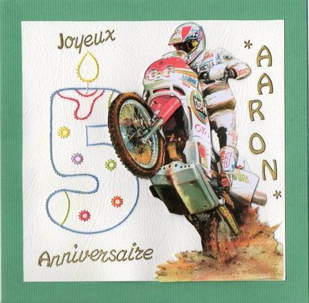 """596 """"carte anniversaire Aaron"""