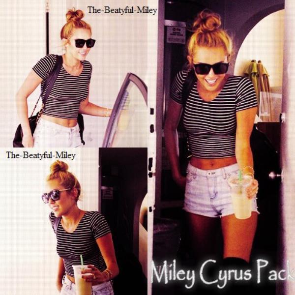 Petite récompense bien méritée pour Miley ! Après sa séance hebdomadaire de Pilates, Miley est allée se chercher un café glacé au Starbucks. Comme toujours, les paparazzis étaient nombreux à l'attendre à sa sortie.