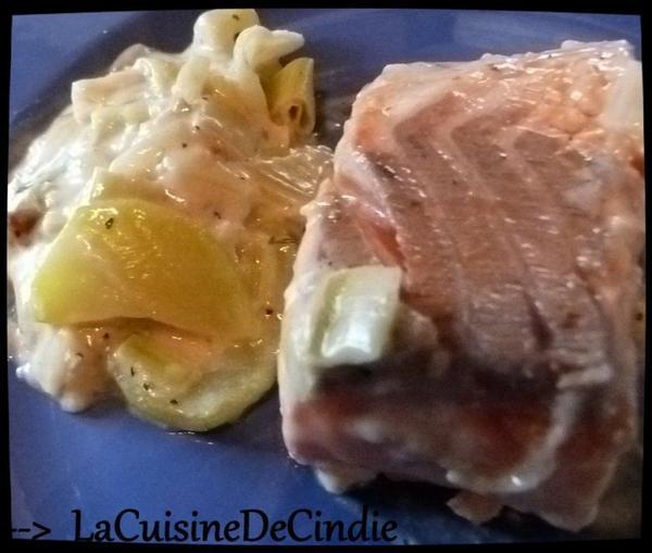 Saumon aux Poireaux et à la Courgette