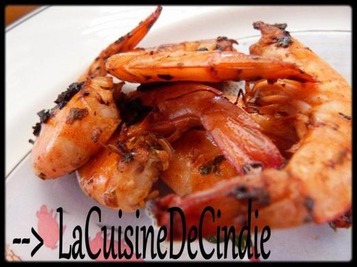 Crevettes marinées cuites à la Plancha