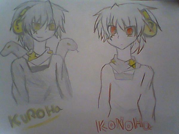 dessin de konoha et kuroha