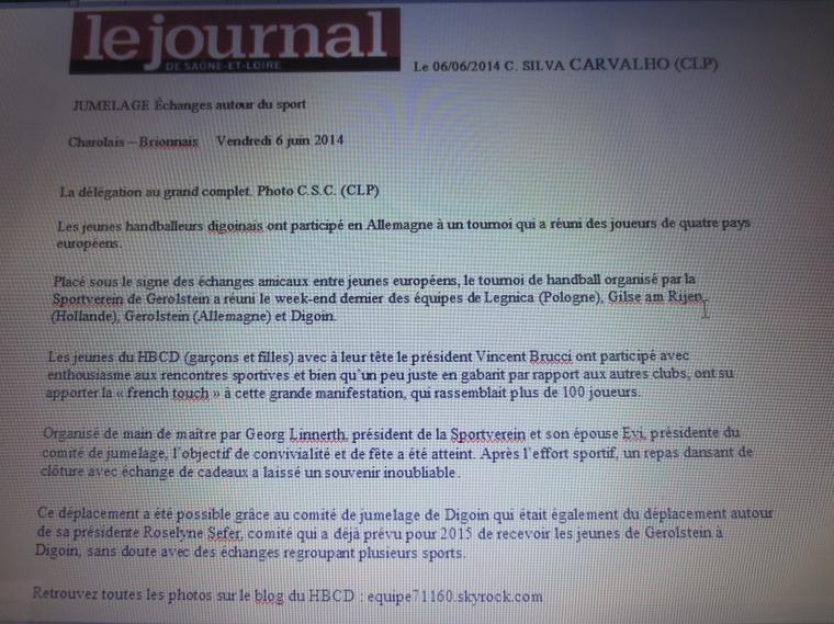 Article sur le Journal de Saône et Loire le vendredi 6 juin 2014.