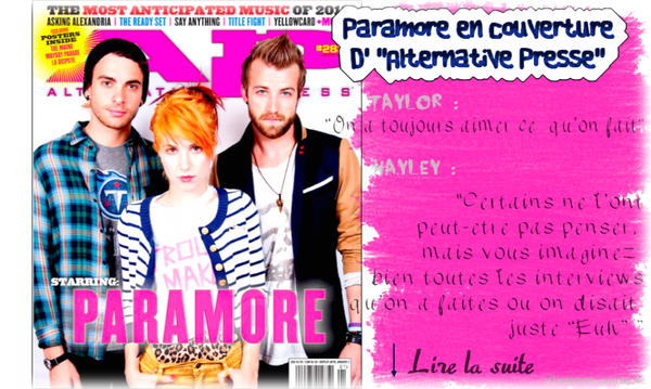 "23/11/2011:Paramore en couverture d' ""Alternative Presse"""