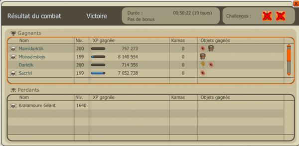 Enfin ! Kralamour géant vaincu et obtention du Dofus Ocre