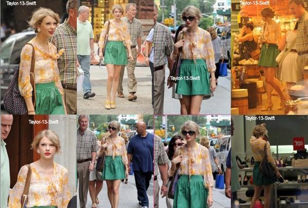 Taylor a été vu avec son papa. Ils faisaient les magasins. La tenue de Taylor, est pour moi, un gros flop. La jupe verte et le haut orange ne vont pas du tout ensemble.