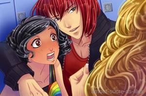 Sucrette : Cheveux bouclée,noir,yeux rouge. (Que les illustrations avec une sucrette)