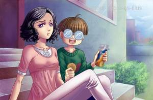 Sucrette : Cheveux bouclée,noir,yeux violet. (Que les illustrations avec une sucrette.)