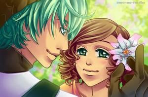 Sucrette : Cheveux bouclée,brun,yeux vert. (Que les illustrations avec une sucrette.).