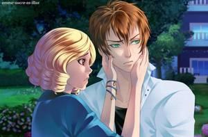 Sucrette : Cheveux bouclée,blond,yeux rouge. (Que les illustrations avec une sucrette.)