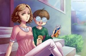 Sucrette : Cheveux bouclée,brun,yeux jaune. (Que les illustrations avec une sucrette.)