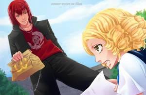 Sucrette : Cheveux bouclée,blond,yeux marron. (Que les illustrations avec une sucrette.)a