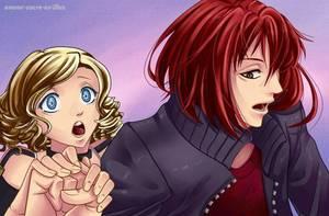 Sucrette : Cheveux bouclée,blond,yeux bleu clair. (Que les illustrations avec une sucrette.)
