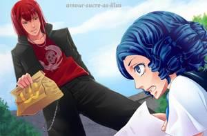 Sucrette : Cheveux bouclé,bleu,yeux bleu. (Que les illustrations avec une sucrette.)