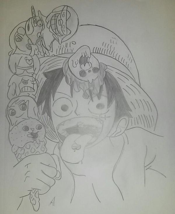 Voila mon dessin de Luffy que j'ai fini mardi! (le 18/12/12)