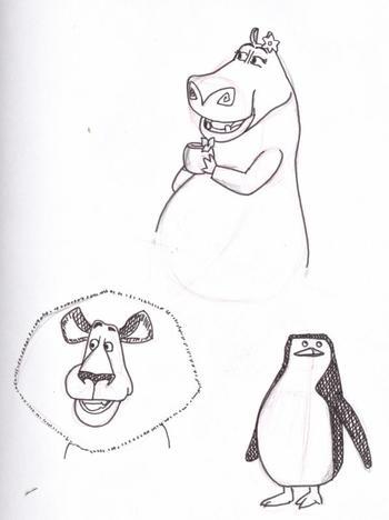 travail n°3, personnages de dessin animé, dessin d'observation au fusain