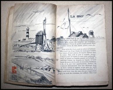 livre illustré par un lavis de Georges Geo Fourrier , la mer de Bernhard Kellermann 1924 Ouessant