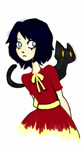 Draw girl and cat