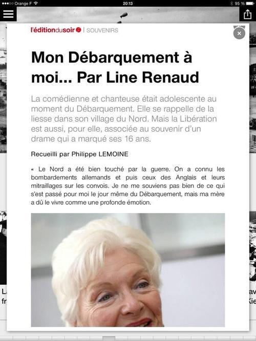 """Line Renaud - """"Mon débarquement à moi"""" (leditiondusoir.fr)"""
