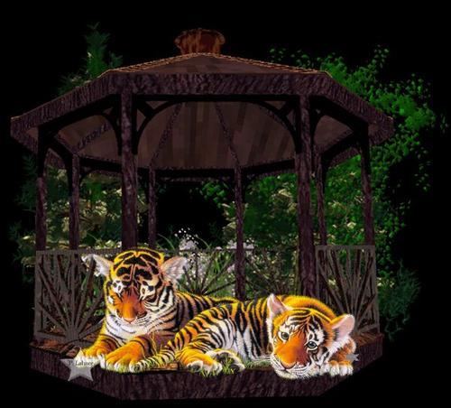 tigre sous un kiosque