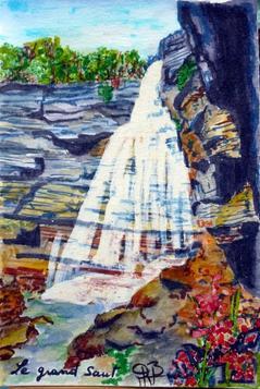 Vacances dans un charmant coin du Jura au milieu des lacs et cascades ( Bonlieu) : aquarelle obligée :que d'eau que d'eau !