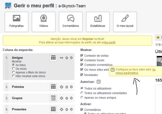 Perfil: Mostra os teus outros sites no teu perfil Skyrock!