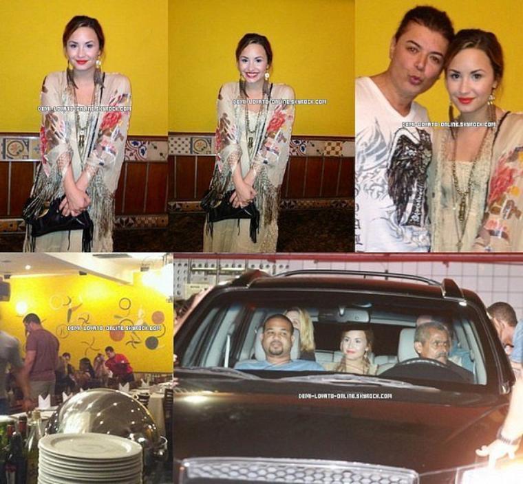 18/04/2012 Demi dînant dans un restaurant brésilien, puis à l'hôtel avec ses amis.