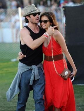 Ian Somerhalder et Nina Dobrev au festival, à Coachella 2012